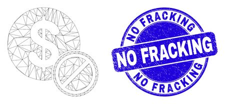 Web mesh forbidden dollar pictogram and No Fracking watermark. Blue vector rounded textured watermark with No Fracking title.
