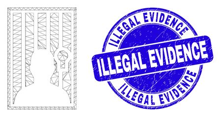 Web carcass jailed person icon and Illegal Evidence stamp. Blue vector rounded grunge seal stamp with Illegal Evidence title. Abstract carcass mesh polygonal model created from jailed person icon.