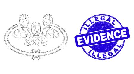 Web carcass jailed persons pictogram and Illegal Evidence seal stamp. Blue vector round grunge seal stamp with Illegal Evidence caption. Stock Illustratie