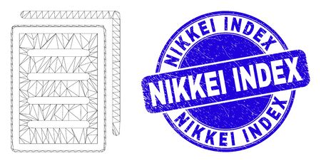 Web carcass list page icon and Nikkei Index stamp. Blue vector round scratched seal stamp with Nikkei Index caption. Abstract frame mesh polygonal model created from list page pictogram.