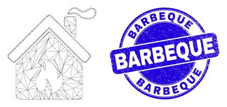 Web mesh kitchen building pictogram and Barbeque stamp. Blue vector rounded grunge stamp with Barbeque caption. Abstract frame mesh polygonal model created from kitchen building pictogram.