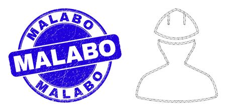 Web mesh worker pictogram and Malabo seal stamp. Blue vector rounded grunge seal stamp with Malabo title. Abstract frame mesh polygonal model created from worker pictogram. 스톡 콘텐츠 - 150094460