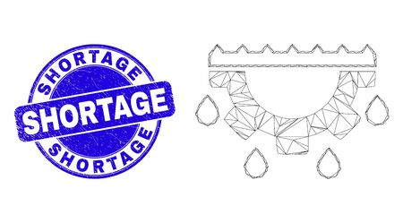 Web mesh water gear drops pictogram and Shortage stamp. Blue vector round scratched seal stamp with Shortage text. Abstract frame mesh polygonal model created from water gear drops pictogram. 일러스트