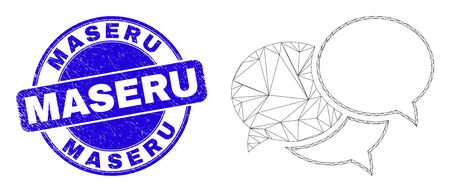 Web mesh webinar messages icon and Maseru stamp. Blue vector round grunge stamp with Maseru text. Abstract carcass mesh polygonal model created from webinar messages icon.