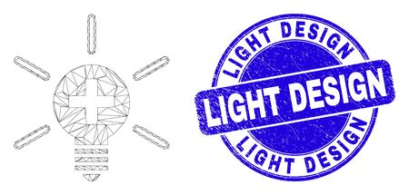 Web carcass medical lamp light icon and Light Design seal stamp. Blue vector round scratched seal stamp with Light Design title.
