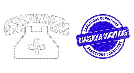 Web mesh medical phone pictogram and Dangerous Conditions stamp. Blue vector round scratched seal stamp with Dangerous Conditions caption.