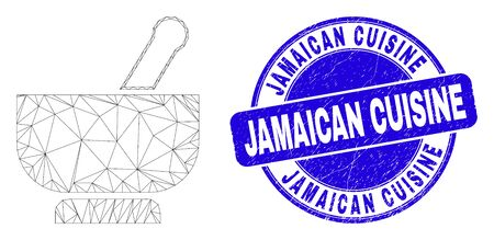 Web mesh mortar pictogram and Jamaican Cuisine seal. Blue vector rounded scratched seal with Jamaican Cuisine phrase. Abstract frame mesh polygonal model created from mortar pictogram. Ilustrace