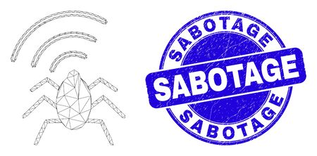 Web mesh radio bug pictogram and Sabotage seal. Blue vector round distress seal stamp with Sabotage title. Abstract carcass mesh polygonal model created from radio bug pictogram.