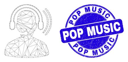 Web mesh radio operator headset pictogram and Pop Music seal stamp. Blue vector round textured stamp with Pop Music phrase. 일러스트
