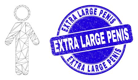 Web mesh person pictogram and Extra Large Penis stamp. Blue vector rounded grunge stamp with Extra Large Penis title. Abstract frame mesh polygonal model created from person pictogram.