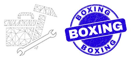 Web carcass toolbox icon and Boxing seal stamp. Blue vector round scratched stamp with Boxing phrase. Abstract carcass mesh polygonal model created from toolbox icon.