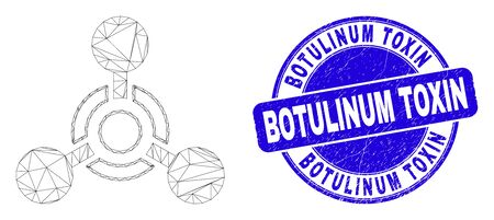 Web carcass toxic Nerve agent icon and Botulinum Toxin stamp. Blue vector rounded textured seal stamp with Botulinum Toxin caption.