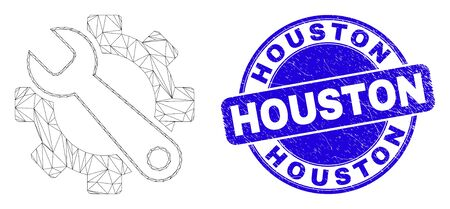 Web carcass service tools icon and Houston seal. Blue vector rounded distress seal stamp with Houston phrase. Abstract carcass mesh polygonal model created from service tools icon. Иллюстрация