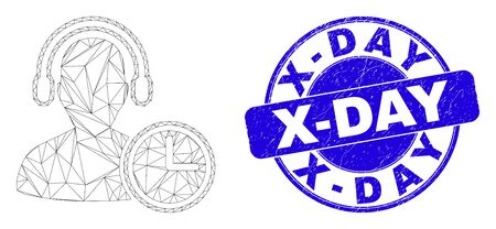 Web carcass operator time pictogram and X-Day seal stamp. Blue vector round distress seal stamp with X-Day text. Abstract carcass mesh polygonal model created from operator time icon.