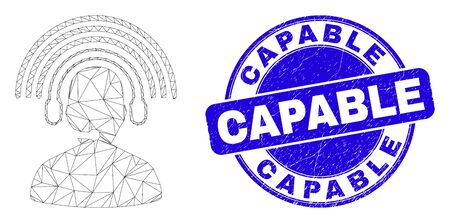 Web mesh radio operator pictogram and Capable seal. Blue vector round textured seal stamp with Capable caption. Abstract carcass mesh polygonal model created from radio operator pictogram. Illustration