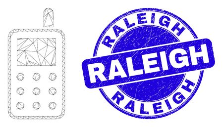 Web carcass radio transmitter pictogram and Raleigh stamp. Blue vector round textured stamp with Raleigh message. Abstract carcass mesh polygonal model created from radio transmitter icon.