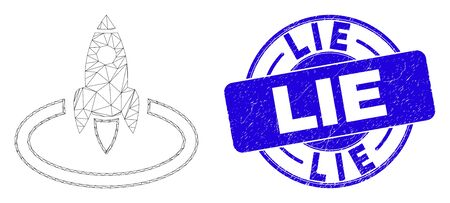 Web carcass rocket start icon and Lie seal stamp. Blue vector rounded distress seal stamp with Lie message. Abstract frame mesh polygonal model created from rocket start icon.