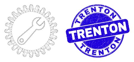 Web mesh repair wrench icon and Trenton seal stamp. Blue vector round scratched seal stamp with Trenton phrase. Abstract frame mesh polygonal model created from repair wrench pictogram. Иллюстрация