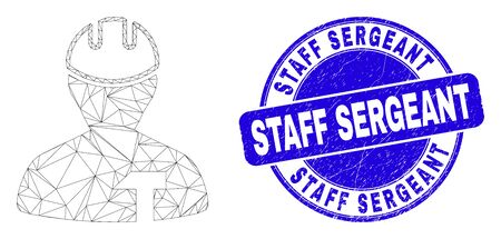 Web carcass repairman pictogram and Staff Sergeant seal stamp. Blue vector rounded textured seal stamp with Staff Sergeant title. Abstract frame mesh polygonal model created from repairman pictogram. Illustration
