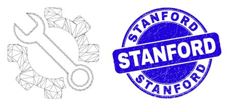 Web mesh wrench tools icon and Stanford seal. Blue vector rounded grunge seal with Stanford caption. Abstract carcass mesh polygonal model created from wrench tools pictogram.