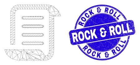 Web mesh scroll list pictogram and Rock & Roll watermark. Blue vector rounded distress watermark with Rock & Roll caption. Abstract frame mesh polygonal model created from scroll list pictogram. Illusztráció