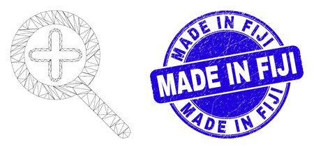 Web mesh zoom in icon and Made in Fiji seal stamp. Blue vector rounded scratched seal stamp with Made in Fiji phrase. Abstract frame mesh polygonal model created from zoom in icon.