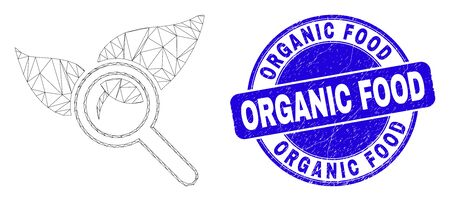 Web carcass search flora plant icon and Organic Food seal. Blue vector rounded scratched seal with Organic Food message. Abstract frame mesh polygonal model created from search flora plant icon. 스톡 콘텐츠 - 150094564