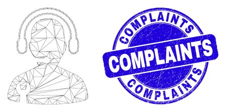 Web carcass service operator pictogram and Complaints seal stamp. Blue vector round grunge seal stamp with Complaints message. Abstract carcass mesh polygonal model created from service operator icon.