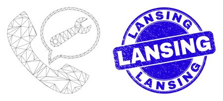 Web carcass service phone call pictogram and Lansing seal stamp. Blue vector round scratched seal stamp with Lansing message. Abstract frame mesh polygonal model created from service phone call icon. 스톡 콘텐츠 - 150094565