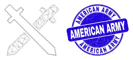 Web carcass swords icon and American Army stamp. Blue vector round distress stamp with American Army phrase. Abstract carcass mesh polygonal model created from swords icon. 스톡 콘텐츠 - 150094567