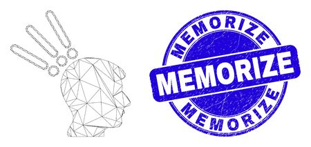 Web mesh test head icon and Memorize stamp. Blue vector rounded scratched watermark with Memorize title. Abstract frame mesh polygonal model created from test head icon.