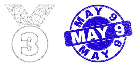 Web mesh third medal pictogram and May 9 seal. Blue vector rounded textured seal stamp with May 9 message. Abstract carcass mesh polygonal model created from third medal pictogram.