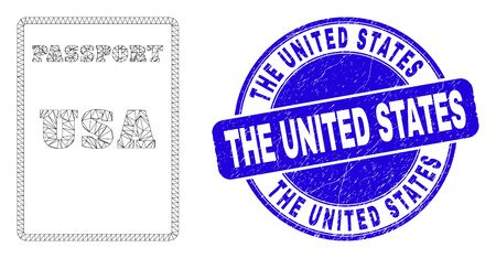 Web mesh USA passport icon and The United States seal. Blue vector rounded scratched seal stamp with The United States title. Abstract frame mesh polygonal model created from USA passport icon.
