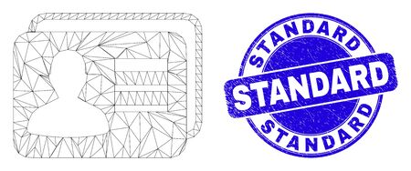 Web carcass user cards icon and Standard seal. Blue vector round textured watermark with Standard caption. Abstract carcass mesh polygonal model created from user cards icon. 스톡 콘텐츠 - 150094574