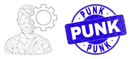 Web mesh user options gear icon and Punk seal stamp. Blue vector rounded scratched seal stamp with Punk message. Abstract carcass mesh polygonal model created from user options gear icon.