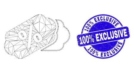 Web carcass percent tags icon and 100% Exclusive seal. Blue vector rounded scratched watermark with 100% Exclusive title. Abstract carcass mesh polygonal model created from percent tags icon.