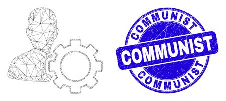 Web mesh user options gear icon and Communist seal stamp. Blue vector rounded grunge seal with Communist caption. Abstract frame mesh polygonal model created from user options gear icon.