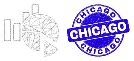 Web mesh statistics charts pictogram and Chicago seal stamp. Blue vector rounded textured seal with Chicago caption. Abstract frame mesh polygonal model created from statistics charts pictogram.
