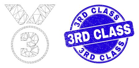 Web carcass third place award pictogram and 3Rd Class seal. Blue vector rounded grunge stamp with 3Rd Class phrase. Abstract carcass mesh polygonal model created from third place award pictogram.