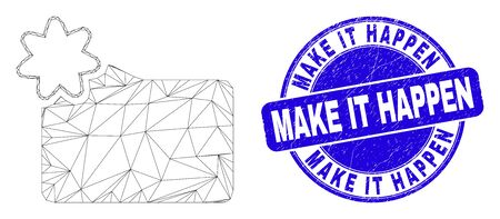 Web carcass new folder icon and Make It Happen seal stamp. Blue vector round grunge seal with Make It Happen phrase. Abstract carcass mesh polygonal model created from new folder icon.