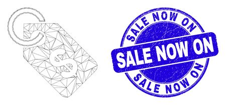 Web mesh price tag pictogram and Sale Now On seal stamp. Blue vector round textured seal with Sale Now On phrase. Abstract carcass mesh polygonal model created from price tag pictogram.