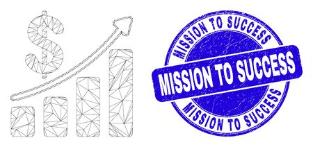 Web mesh profit up trend chart icon and Mission to Success seal stamp. Blue vector rounded distress seal stamp with Mission to Success caption. Vettoriali