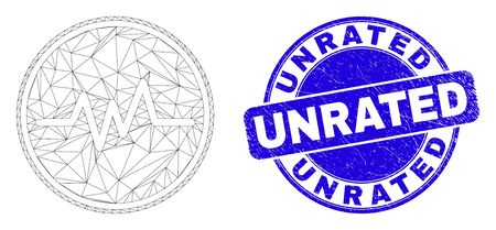 Web mesh pulse signal pictogram and Unrated seal stamp. Blue vector round grunge stamp with Unrated message. Abstract frame mesh polygonal model created from pulse signal pictogram.