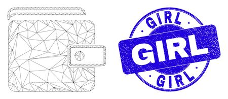 Web mesh purse pictogram and Girl seal stamp. Blue vector rounded scratched seal with Girl message. Abstract carcass mesh polygonal model created from purse pictogram.