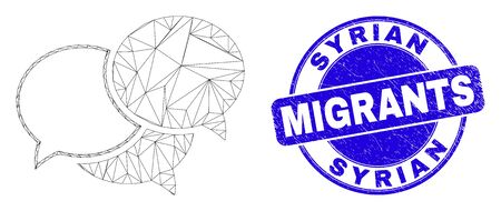 Web carcass webinar messages icon and Syrian Migrants stamp. Blue vector round distress stamp with Syrian Migrants title. Abstract carcass mesh polygonal model created from webinar messages icon.