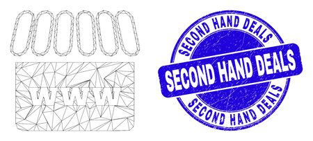 Web mesh webshop icon and Second Hand Deals watermark. Blue vector rounded scratched watermark with Second Hand Deals message. Abstract carcass mesh polygonal model created from webshop icon.
