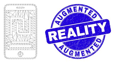 Web mesh mobile shekel account icon and Augmented Reality seal stamp. Blue vector rounded scratched seal stamp with Augmented Reality text.