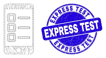 Web carcass mobile test items pictogram and Express Test stamp. Blue vector round textured stamp with Express Test text. Abstract carcass mesh polygonal model created from mobile test items pictogram.