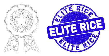 Web mesh star seal icon and Elite Rice stamp. Blue vector rounded scratched seal stamp with Elite Rice phrase. Abstract carcass mesh polygonal model created from star seal icon.