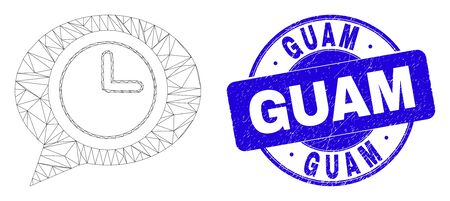 Web mesh time message balloon icon and Guam seal. Blue vector round scratched seal stamp with Guam title. Abstract carcass mesh polygonal model created from time message balloon icon.